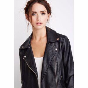 F21 Faux Leather Black Moto Jacket - S